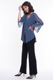 Navy Polka Dot Blouse - Breathable Naturals | Glam & Fame Clothing