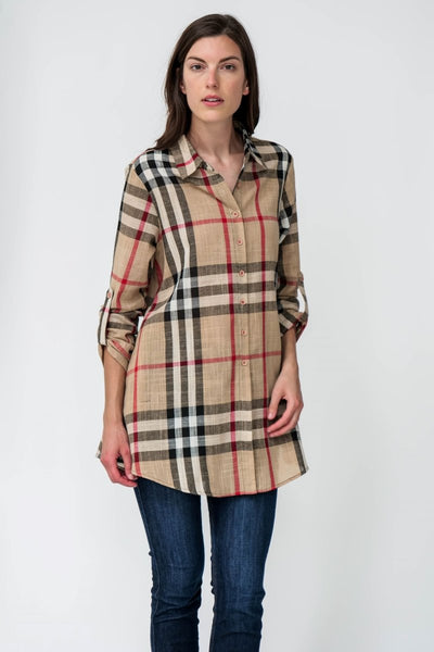 Plaid Canvas Cotton Zip Back Tunic Shirt - Breathable Naturals | Glam & Fame Clothing