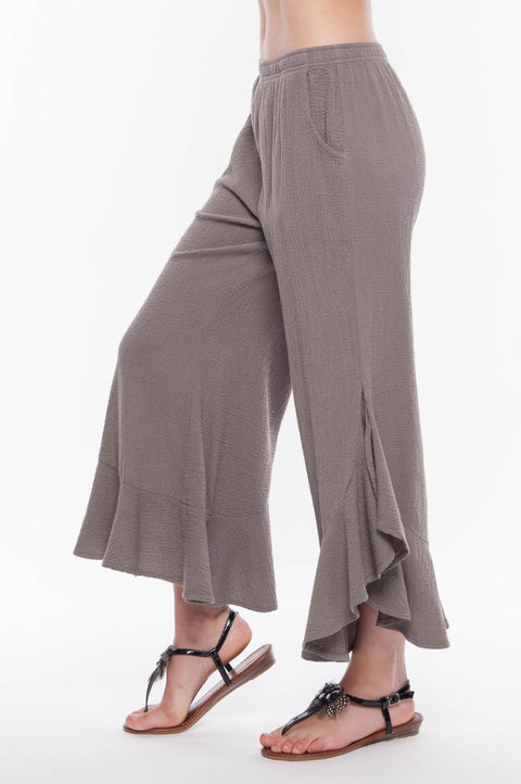 Premium Washed Cotton Ruffle Pants - Breathable Naturals | Glam & Fame Clothing