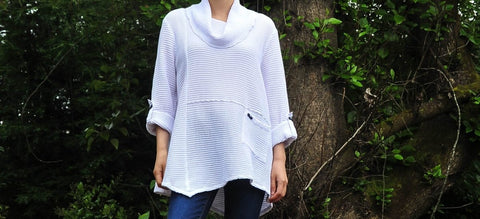 Premium Washed Waffle Weave Cotton Pullover - Glam & Fame | Breathable Naturals