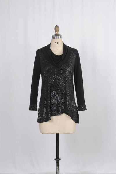 The Sally Blouse with Cowl Neckline and Textured Paisley Shine - Glam & Fame | Breathable Naturals