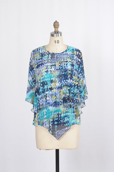 Poncho Blouse 2 Piece in Marbled Watermark Print - Glam & Fame | Breathable Naturals