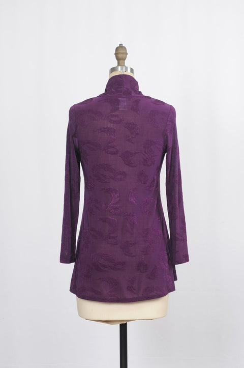 Susan Blouse with Surplice Wrap Front in Damask Jacquard - Glam & Fame | Breathable Naturals