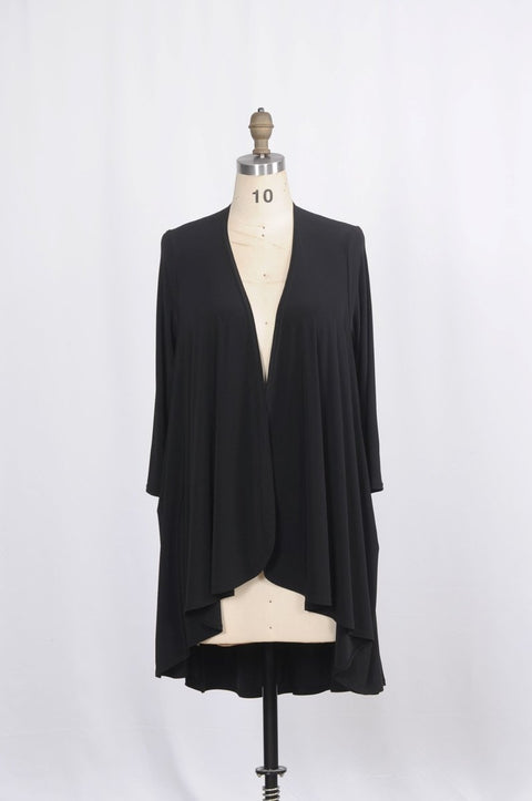 Long Duster with Cascading Lapels - Glam & Fame | Breathable Naturals