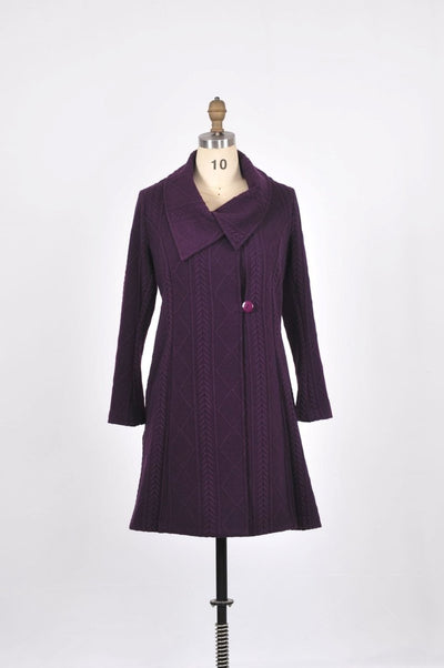 Gloria Coat with Jacquard Knit and Wrap Collar - Glam & Fame | Breathable Naturals