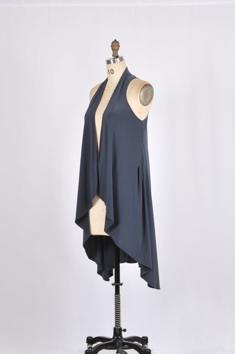 Long Vest with Cascading Lapels - Glam & Fame | Breathable Naturals