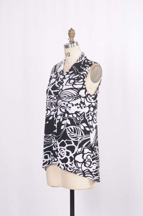 Jessica Button Blouse in Blooming Black and White - Glam & Fame | Breathable Naturals