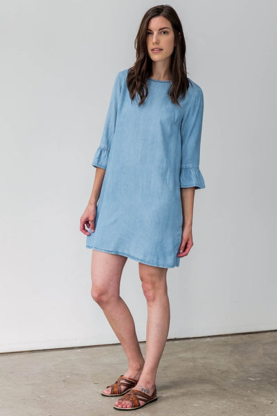 Ruffle Sleeve Dress in Soft Wash Chambray - Breathable Naturals | Glam & Fame Clothing