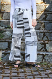 Wide Leg Pants with Couture Striped Print - Glam & Fame | Breathable Naturals