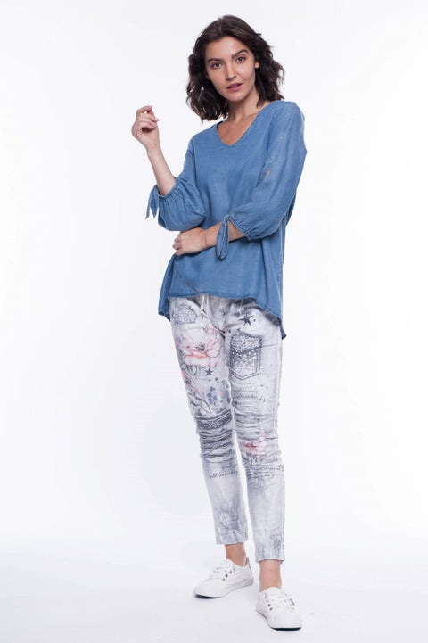 Soft Washed Chambray Blouse - Breathable Naturals | Glam & Fame Clothing