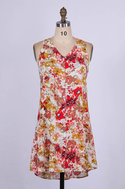 G&F Tara Cotton Blend Swing Dress in Bonita Floral - Glam & Fame | Breathable Naturals