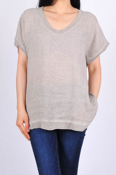Exclusive Made in Italy Linen Blend Top with Silver Trim - Glam & Fame | Breathable Naturals