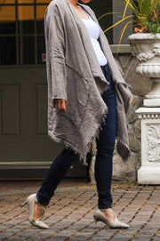 Exclusive Made in Italy Linen Fringe Kimono - Glam & Fame | Breathable Naturals