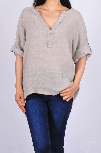 Exclusive Made in Italy Linen Top - Glam & Fame | Breathable Naturals