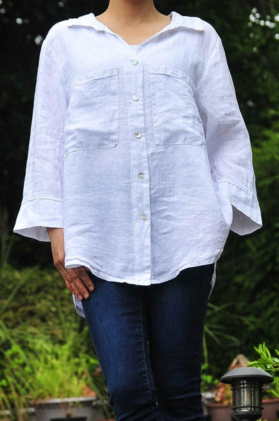 Exclusive Made in Italy Linen Button Down Pocket Shirt - Glam & Fame | Breathable Naturals