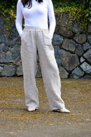 Exclusive Made in Italy Relaxed Linen Blend Pants - Glam & Fame | Breathable Naturals