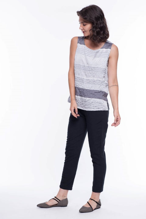 Textured Stripe Tank - Breathable Naturals | Glam & Fame Clothing