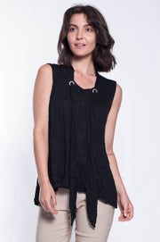 Textured Tank with Neckline Tie - Breathable Naturals | Glam & Fame Clothing