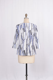 Brushstroke Printed Blouse with 3 / 4 Sleeves - Glam & Fame | Breathable Naturals