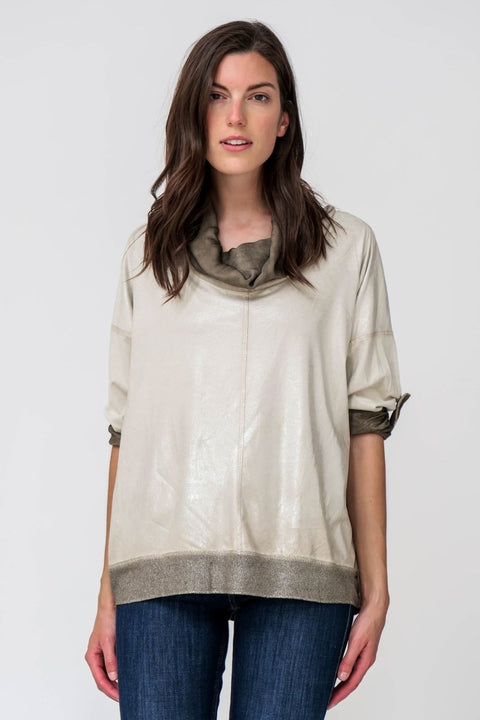 Top Cowl Neck Lurex Hem - Breathable Naturals | Glam & Fame Clothing