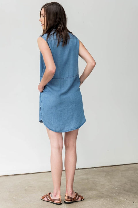 Tunic Dress in Soft Washed Chambray - Breathable Naturals | Glam & Fame Clothing