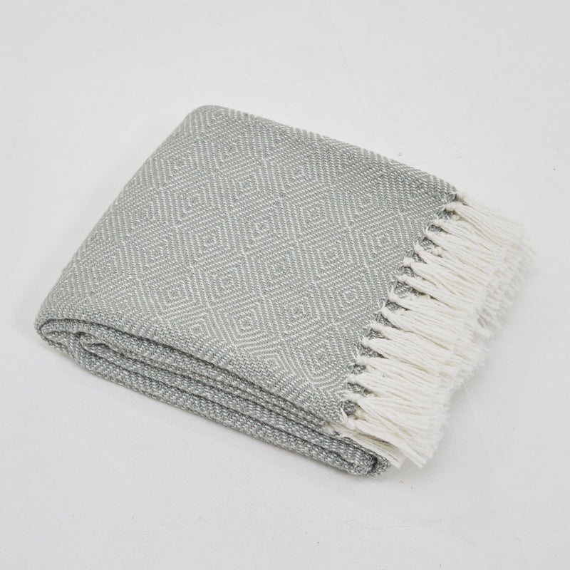 Weaver Green Diamond Dove Grey 100% Recycled Eco Friendly Blanket
