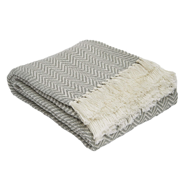 Weaver Green Dove Grey Herringbone Blanket