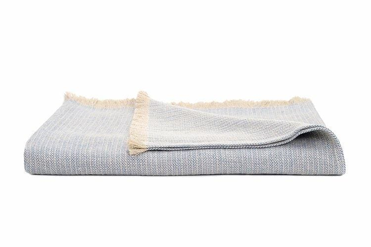 Pure Linen Herringbone Throw