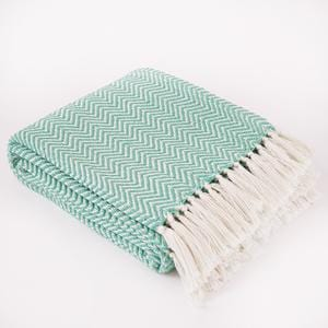Weaver Green Aqua Herringbone Blanket
