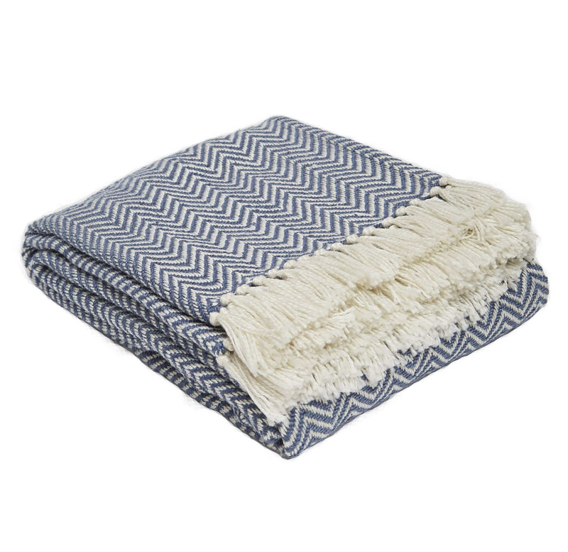 Weaver Green Navy Herringbone 100% Luxry Eco Friendly Blanket