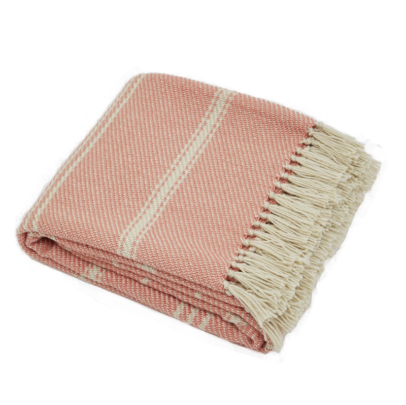 Weaver Green Oxford Stripe Coral Luxry Eco Friendly Blanket
