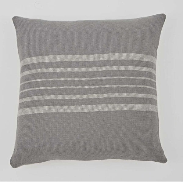 Recycled Antibes Grey with Linen Stripe Cushion