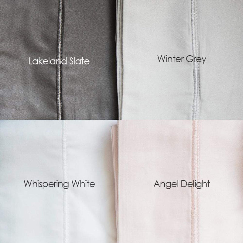 Bamboo Oxford Embroidered Pillowcases, Whispering White, Lakeland Slate, Winter Grey, Angel Delight