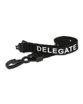 Printed 'Delegate' 15mm Black Lanyard with Plastic J-Clip (Pack of 50)