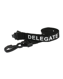 Printed 'Delegate' 15mm Black Lanyard with Plastic J-Clip (Pack of 100)