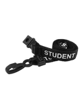 Printed 'Student' 15mm Black Lanyard with Plastic J-Clip (Pack of 50)
