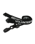 Printed 'Volunteer' 15mm Black Lanyard with Plastic J-Clip (Pack of 50)