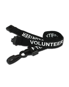 Printed 'Volunteer' 15mm Black Lanyard with Plastic J-Clip (Pack of 100)