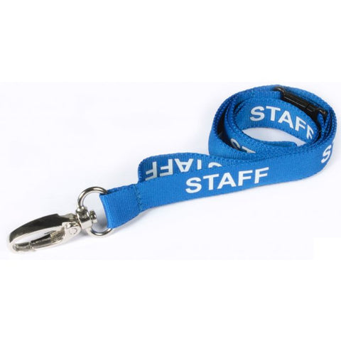 Printed 'Staff' 15mm Blue Lanyard with Metal Lobster Clip (Pack of 50)
