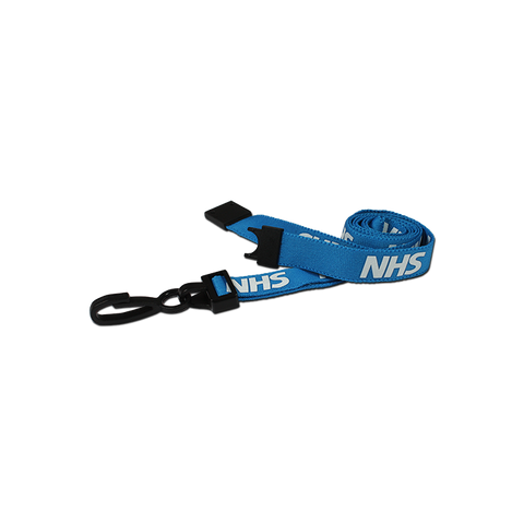 Printed 'NHS' 15mm Blue Lanyard with Plastic J-Clip (Pack of 100)