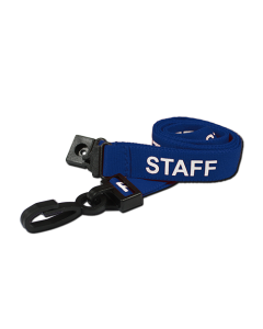 Printed 'Staff' 15mm Blue Lanyard with Plastic J-Clip (Pack of 50)