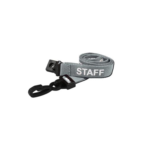 Printed 'Staff' 15mm Grey Lanyard with Plastic J-Clip (Pack of 100)
