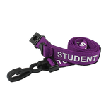 Printed 'Student' 15mm Purple Lanyard with Plastic J-Clip (Pack of 100)