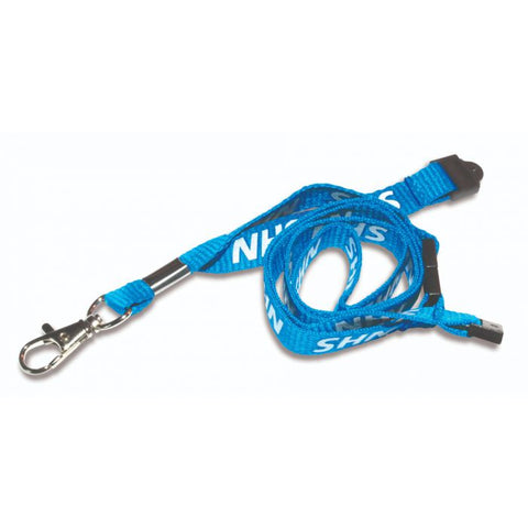 Printed 'NHS' 15mm Blue Lanyard with Metal Trigger Clip (Pack of 100)