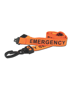 Printed 'Emergency Services' 15mm Orange Lanyard with Plastic J-Clip (Pack of 100)
