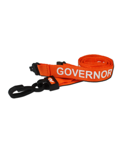 Printed 'Governor' 15mm Orange Lanyard with Plastic J-Clip (Pack of 100)