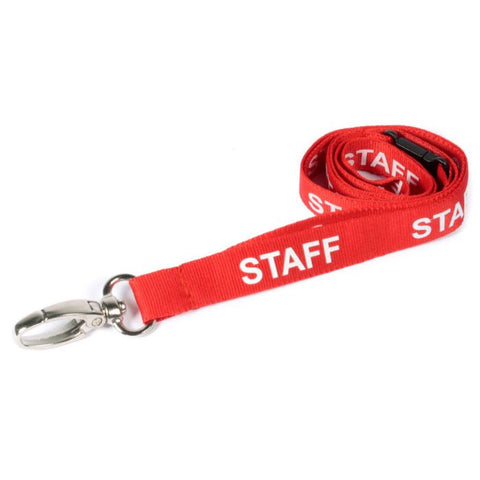 Printed 'Staff' 15mm Red Lanyard with Metal Lobster Clip (Pack of 50)