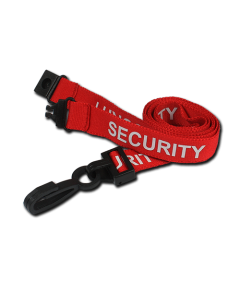 Printed 'Security' 15mm Red Lanyard with Plastic J-Clip (Pack of 100)