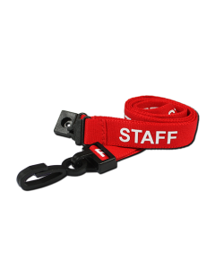 Printed 'Staff' 15mm Red Lanyard with Plastic J-Clip (Pack of 50)