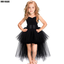 Load image into Gallery viewer, Black Girls Tutu Dress Tulle V-neck Train Girl Evening Birthday Party Dresses Kids Girl Ball Gown Dress Halloween Costume 2-8Y